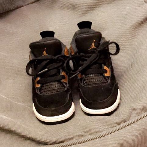 first rate fef07 23c0f Toddler ✨Jordan retro 4✨ black and gold.. suede